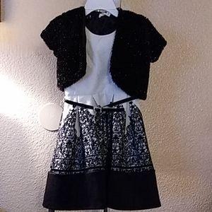 Girls 2-Pc. Flocked Dress & Glitter Faux-Fur Jack